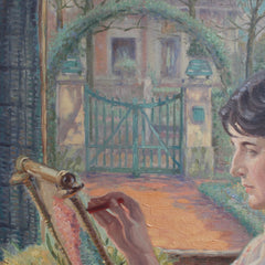'Woman by the Window with Embroidery Frame' by Franz Ludwig Kiederich (circa 1930s)