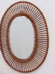 French Rattan Oval-Shaped Wall Mirror (circa 1960s)