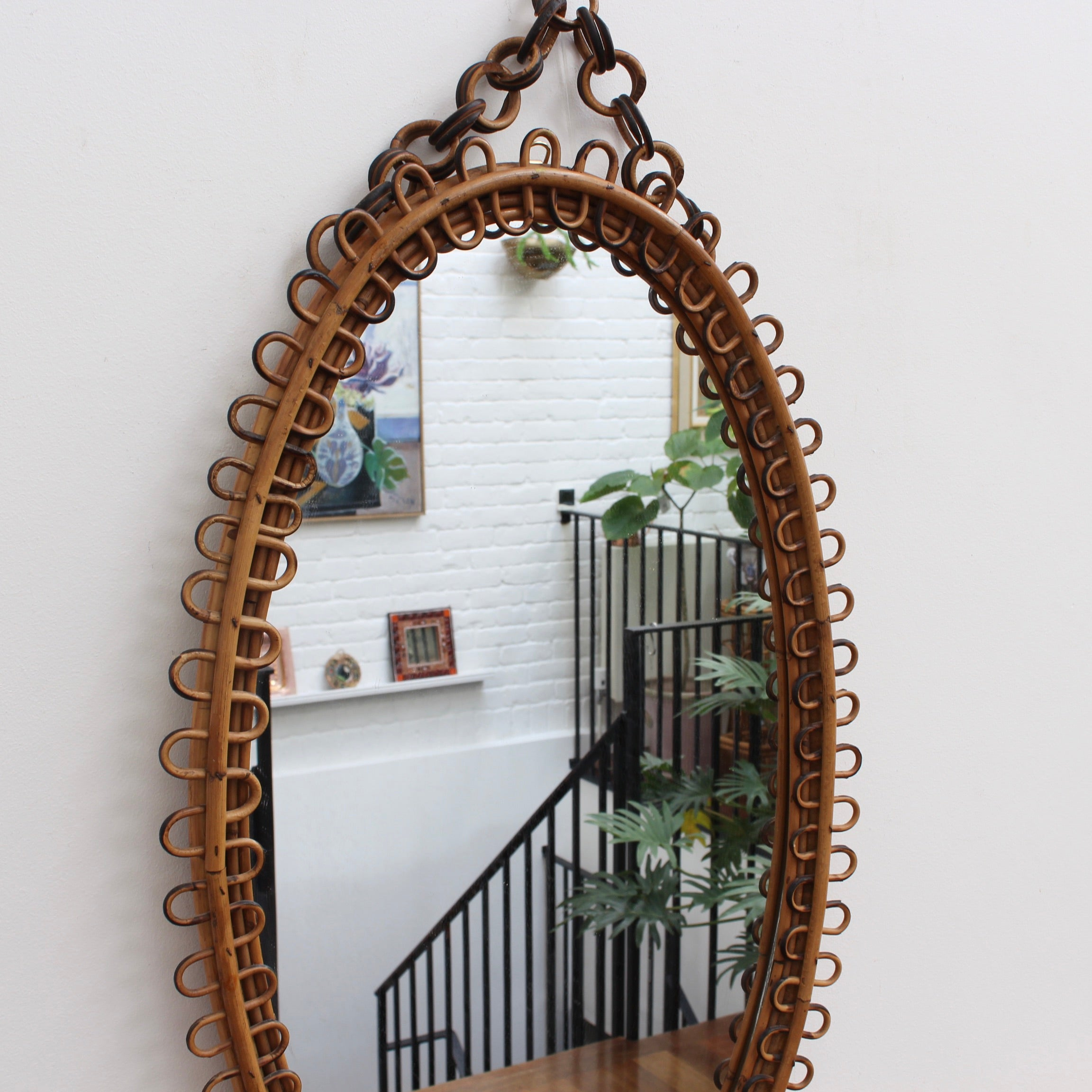 Italian Oval-Shaped Rattan Wall Mirror (circa 1960s)