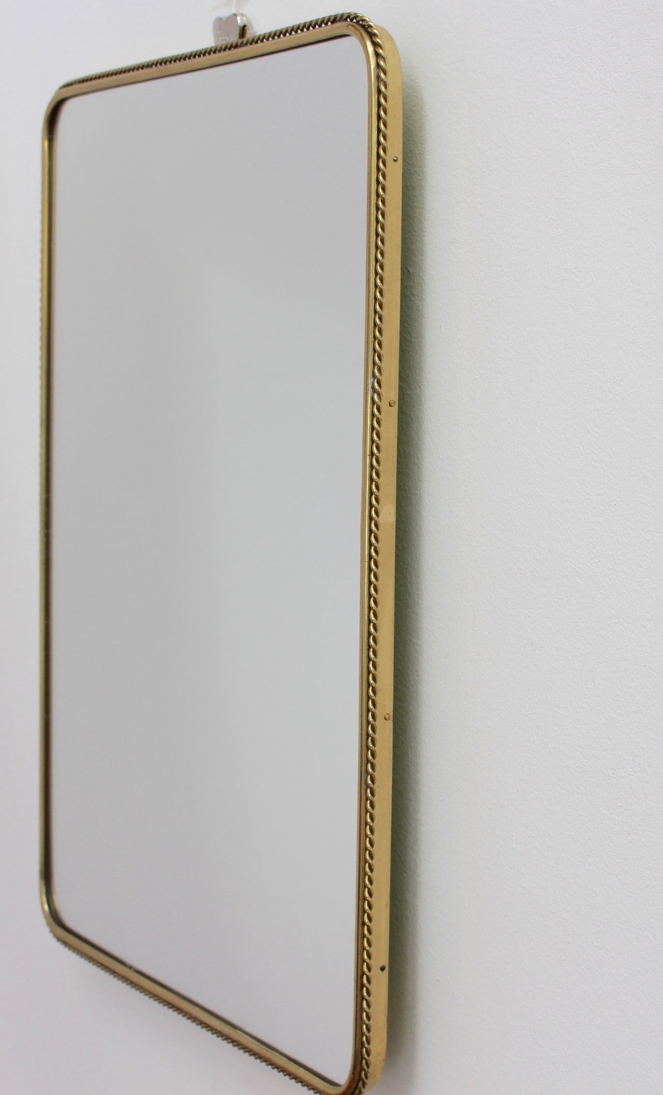 Mid-Century Italian Wall Mirror with Decorative Brass Frame (circa 1950s) - Small