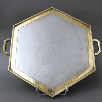 Aluminium and Brass Brutalist Style Hexagon-Shaped Serving Tray by David Marshall (circa 1980s)
