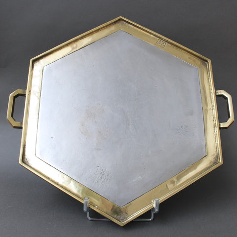 Aluminium and Brass Brutalist Style Hexagon-Shaped Serving Tray by David Marshall (circa 1970s)