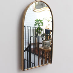 Mid-Century Italian Wall Mirror with Brass Frame (circa 1950s) - Small