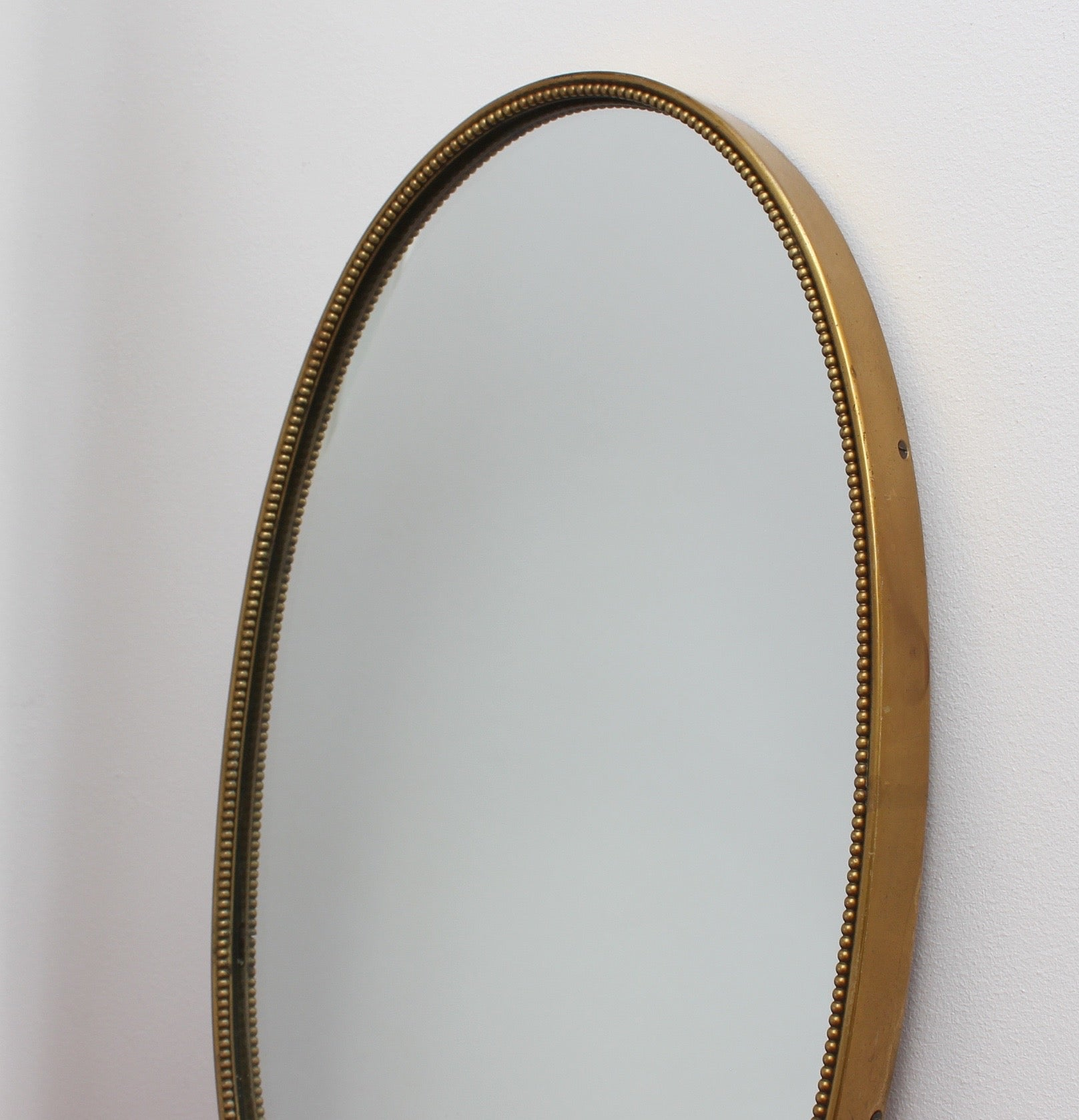 Mid-Century Italian Wall Mirror with Beaded Brass Frame (circa 1950s) - Small
