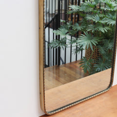 Vintage Italian Arch-Shaped Wall Mirror with Brass Frame (circa 1950s)