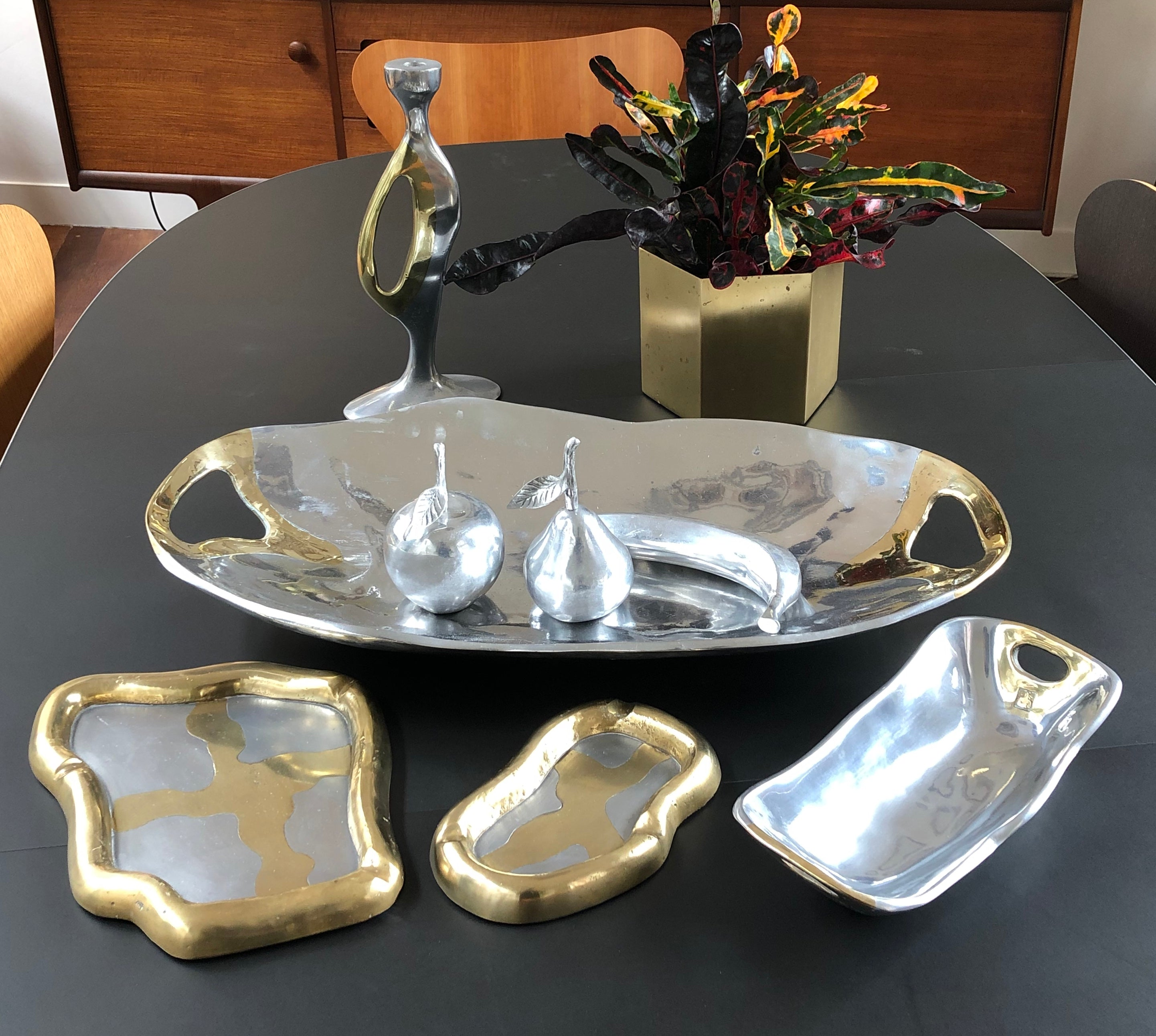 Aluminium and Brass Brutalist Style Tray by David Marshall (1970s) - Large