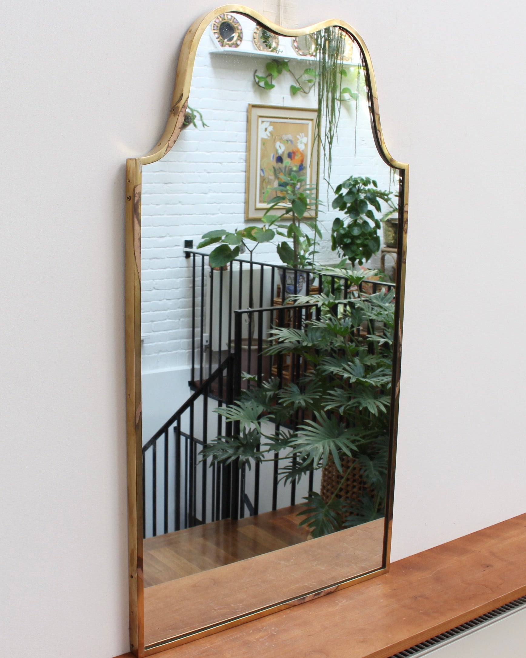 Vintage Italian Wall Mirror with Brass Frame (circa 1950s)