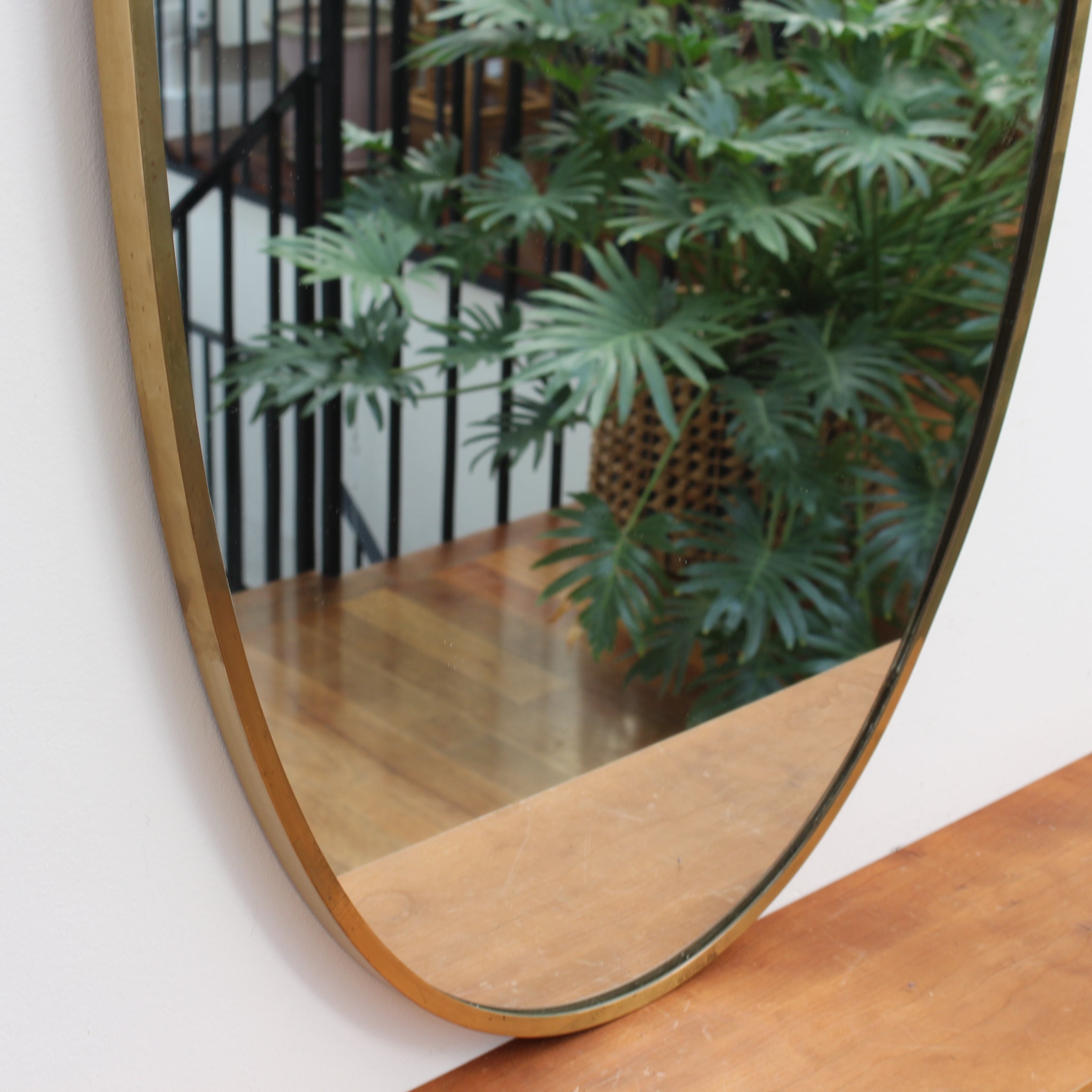 Mid-Century Italian Crest-Shaped Wall Mirror with Brass Frame (circa 1950s)