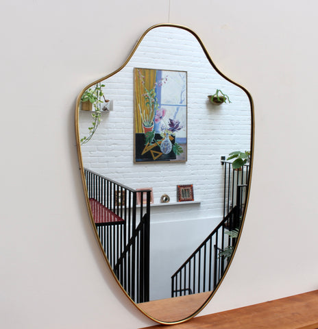Mid-Century Italian Wall Mirror with Brass Frame (1950s)