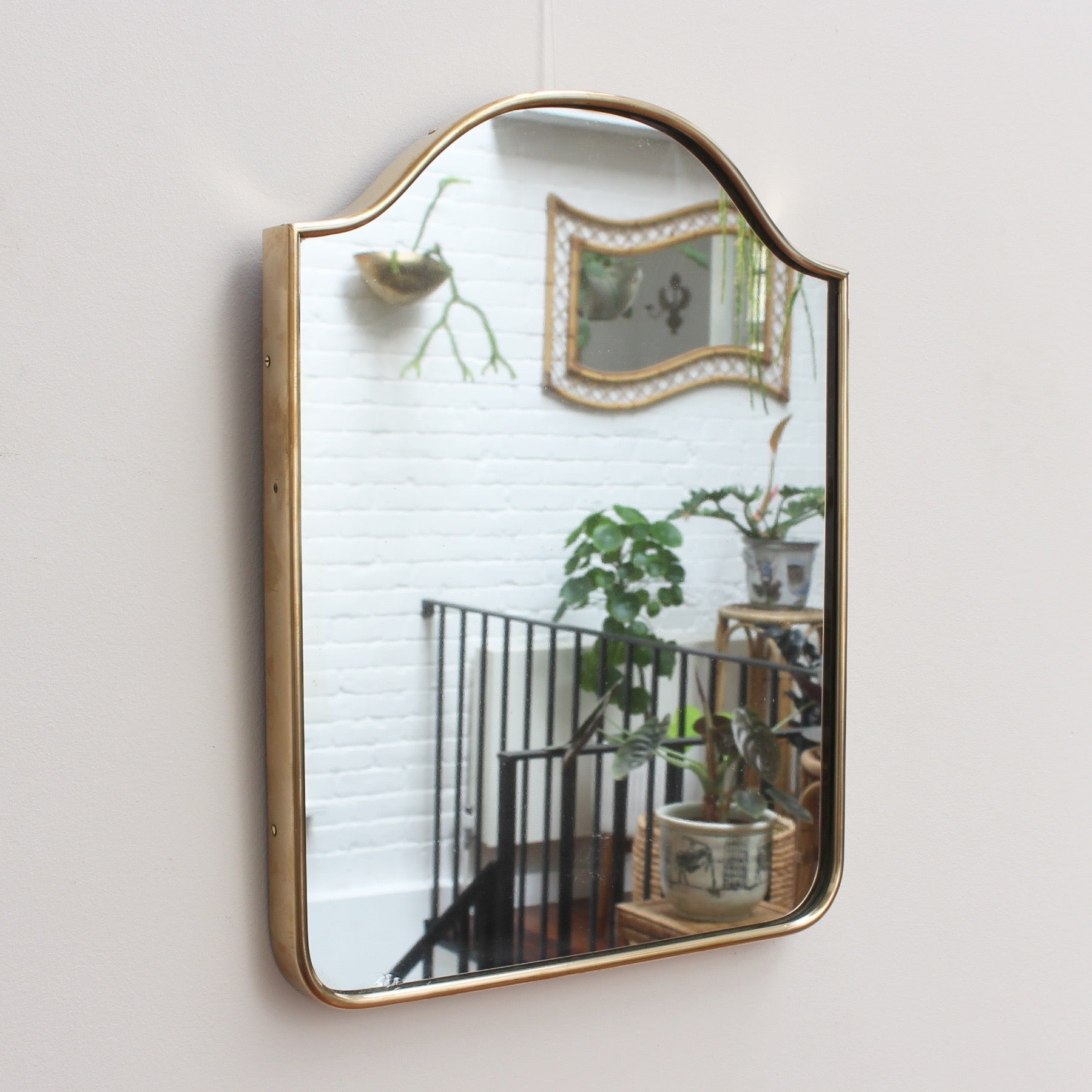 Italian Wall Mirror with Brass Frame (circa 1950s) - Small
