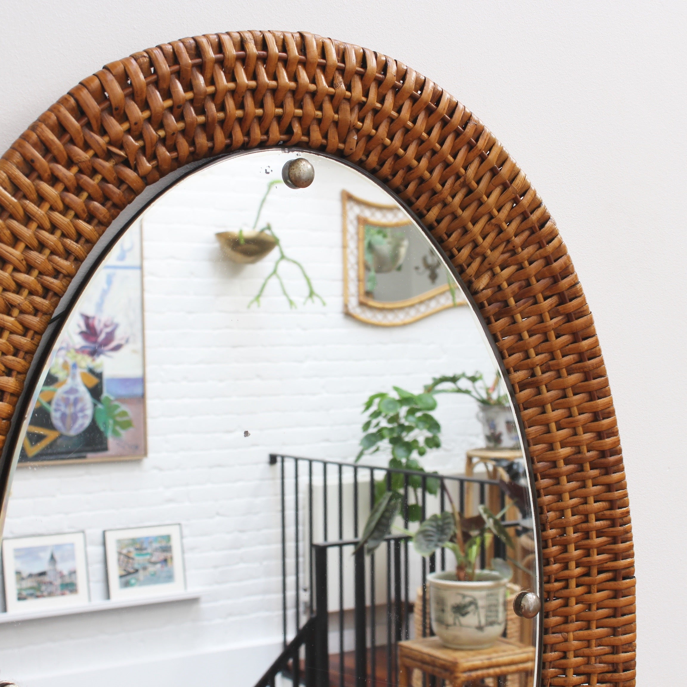 Italian Wicker Rattan Oval-Shaped Wall Mirror (circa 1960s)