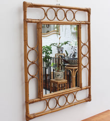 Rectangular Vintage French Rattan Mirror (circa 1960s)