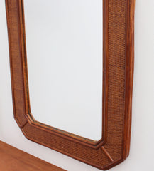 Mid-Century French Indochine Style Wicker Rattan Wall Mirror (circa 1960s)