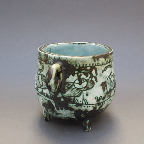 Four-Legged Ceramic Pot by Jacques Blin (c. 1950s)
