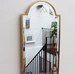 Mid-Century Italian Lozenge-Shaped Wall Mirror with Brass Frame (circa 1950s)