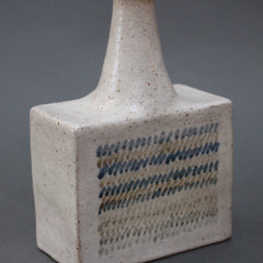 Ceramic Vase with Geometric Line Design by Bruno Gambone (circa 1970s)