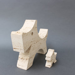 Pair of Stylised Travertine Scottish Terrier Desk Sculptures by Mannelli Brothers (circa 1970s)