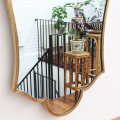 Fleur-de-Lis-Shaped Italian Wall Mirror with Brass Frame (circa 1950s)