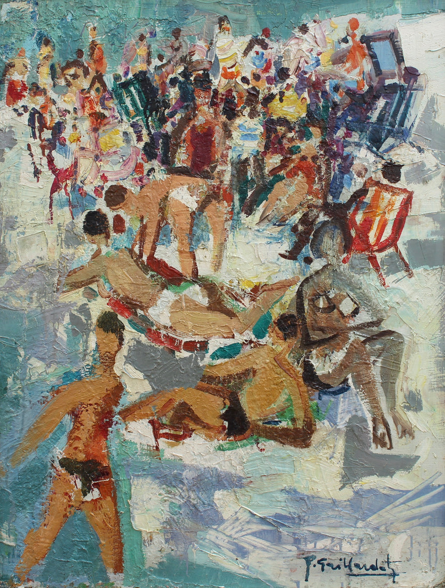 'The Beach on the French Riviera' by Pierre Gaillardot (circa 1950s)