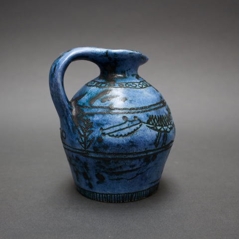 Small Blue Ceramic Jug by Jacques Blin (c. 1950s)