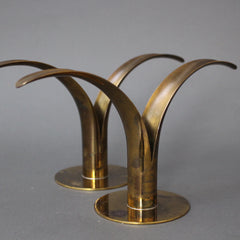 Pair of Mid-Century Split Leaf Lily Candle Holders by SCAN Sweden