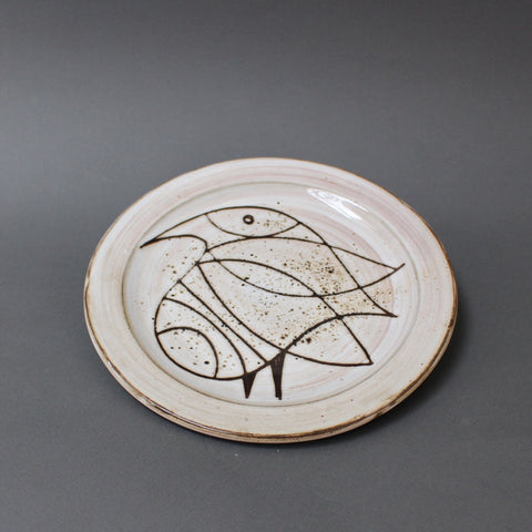 Ceramic Plate with Stylised Bird by Jacques Pouchain - Atelier Dieulefit (circa 1950s)
