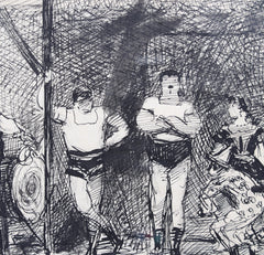 'The Parade of Fairground Wrestlers' - Modern French School (Early 20th Century)