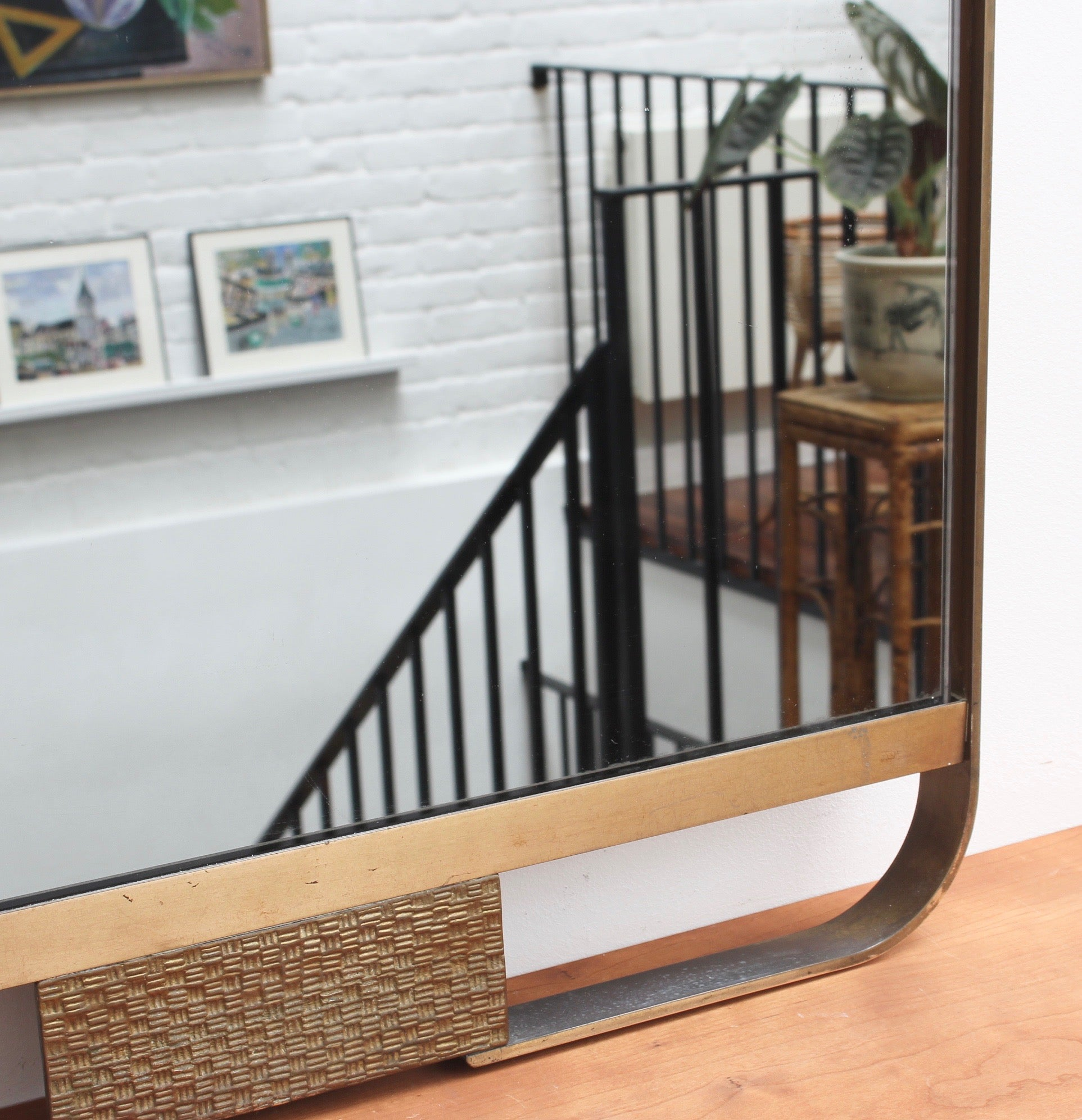Mid-Century Italian Wall Mirror with Double Brass Frame (circa 1950s)