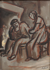 'The Couple in Front of the Fireplace' by René Seyssaud (circa 1930s)