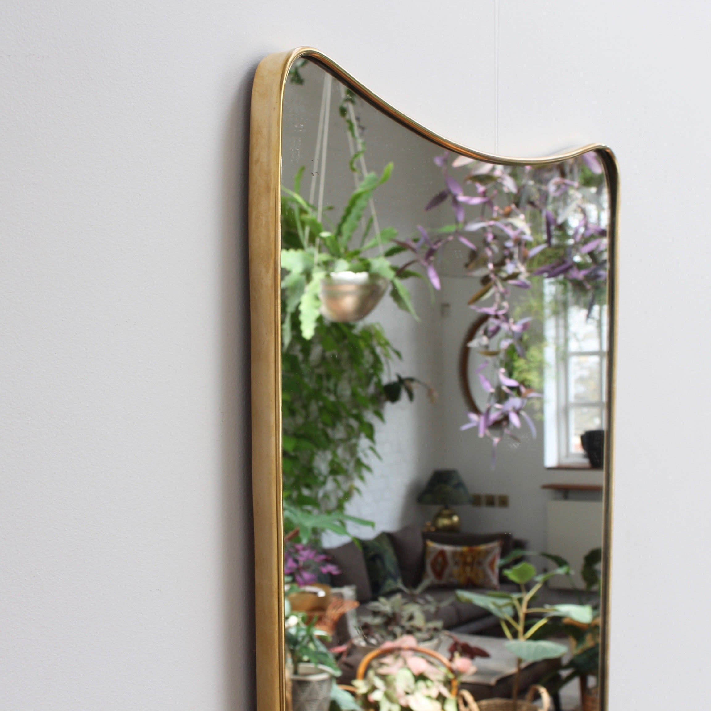 Mid-Century Italian Wall Mirror with Brass Frame (circa 1950s) - Large