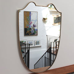 Mid-Century Italian Crest-Shaped Wall Mirror with Brass Frame (circa 1950s) - Large