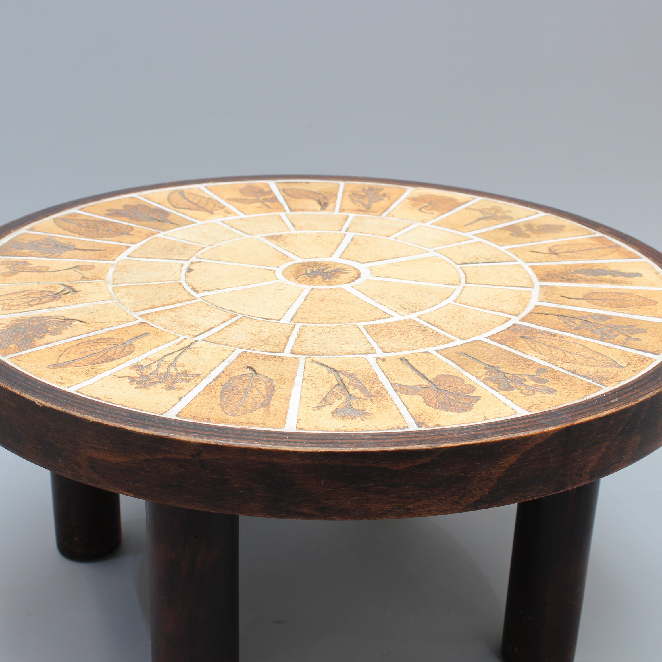 Low Side Table with Decorative Leaf Motif by Roger Capron (circa 1970s)