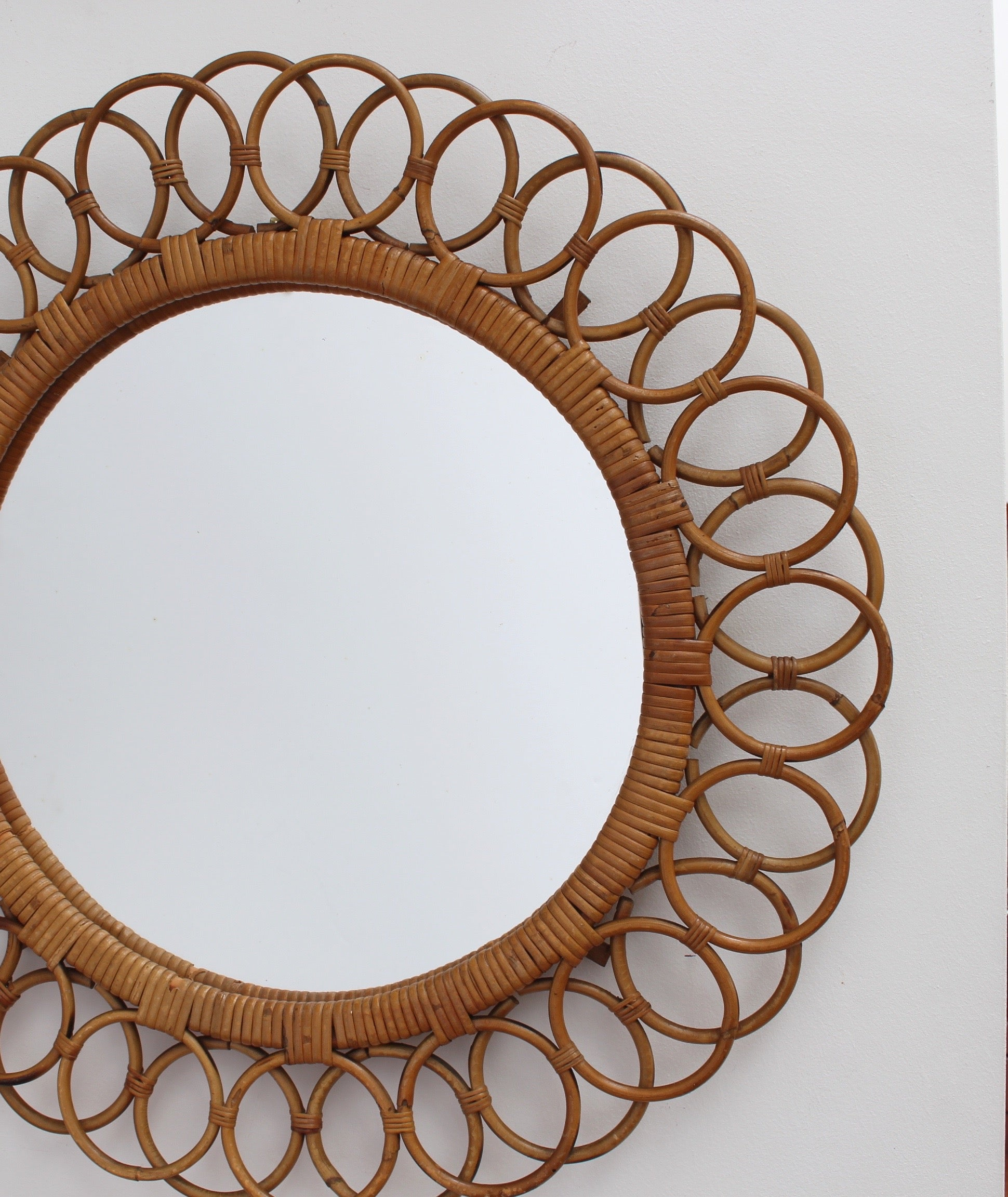 Italian Sunflower Shaped Rattan Wall Mirror  (circa 1960s)