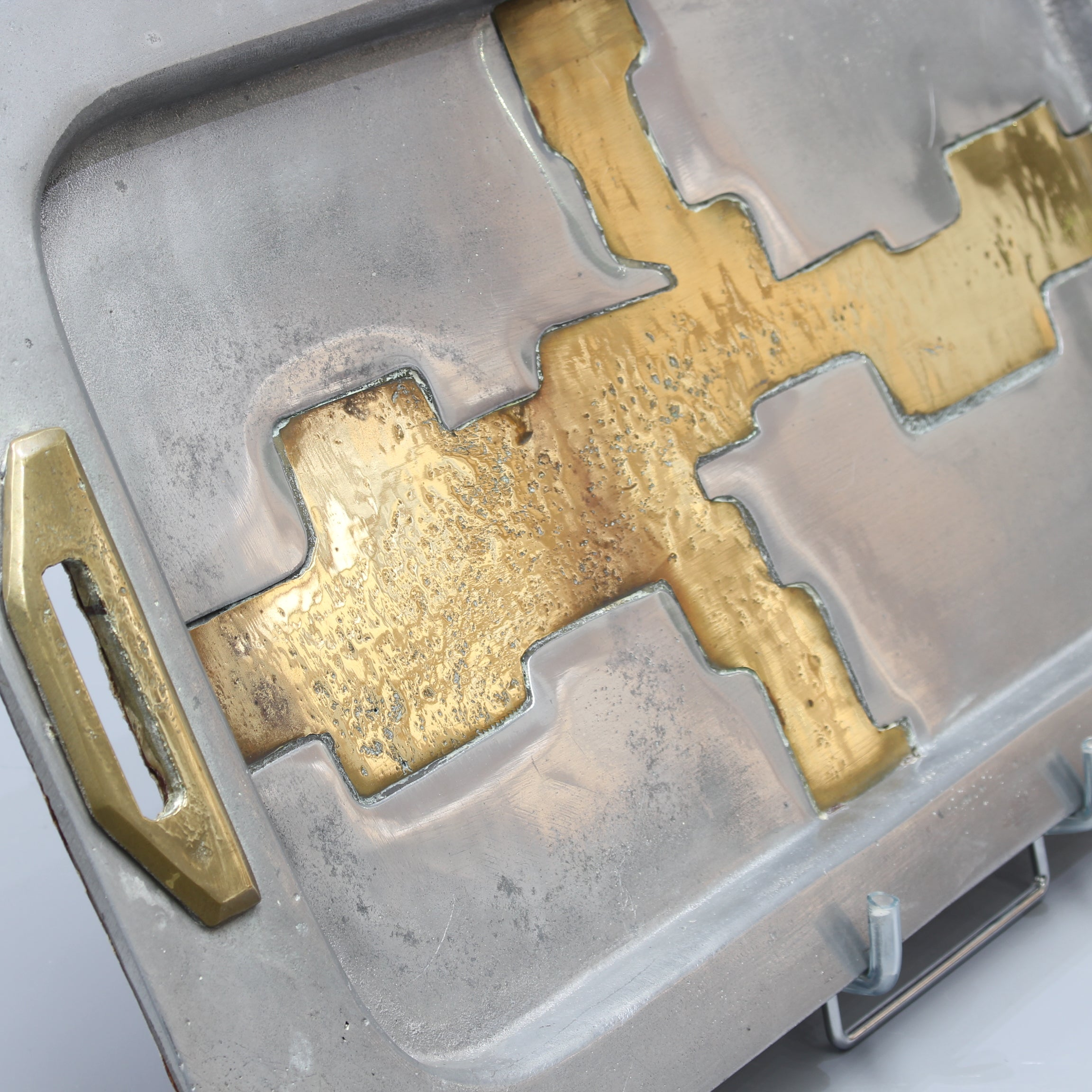Aluminium and Brass Serving Tray in the Style of David Marshall (circa 1980s)