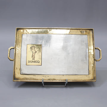 Aluminium and Brass Serving Tray for Domecq Sherry by David Marshall (circa 1980s)