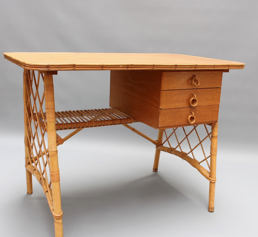 Rattan Desk / Vanity Table and Chair by Louis Sognot (circa 1950s)