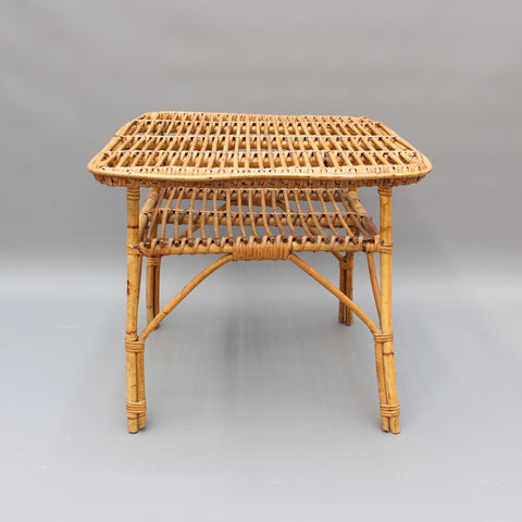 Mid-Century Italian Rattan Coffee Table (circa 1960s)