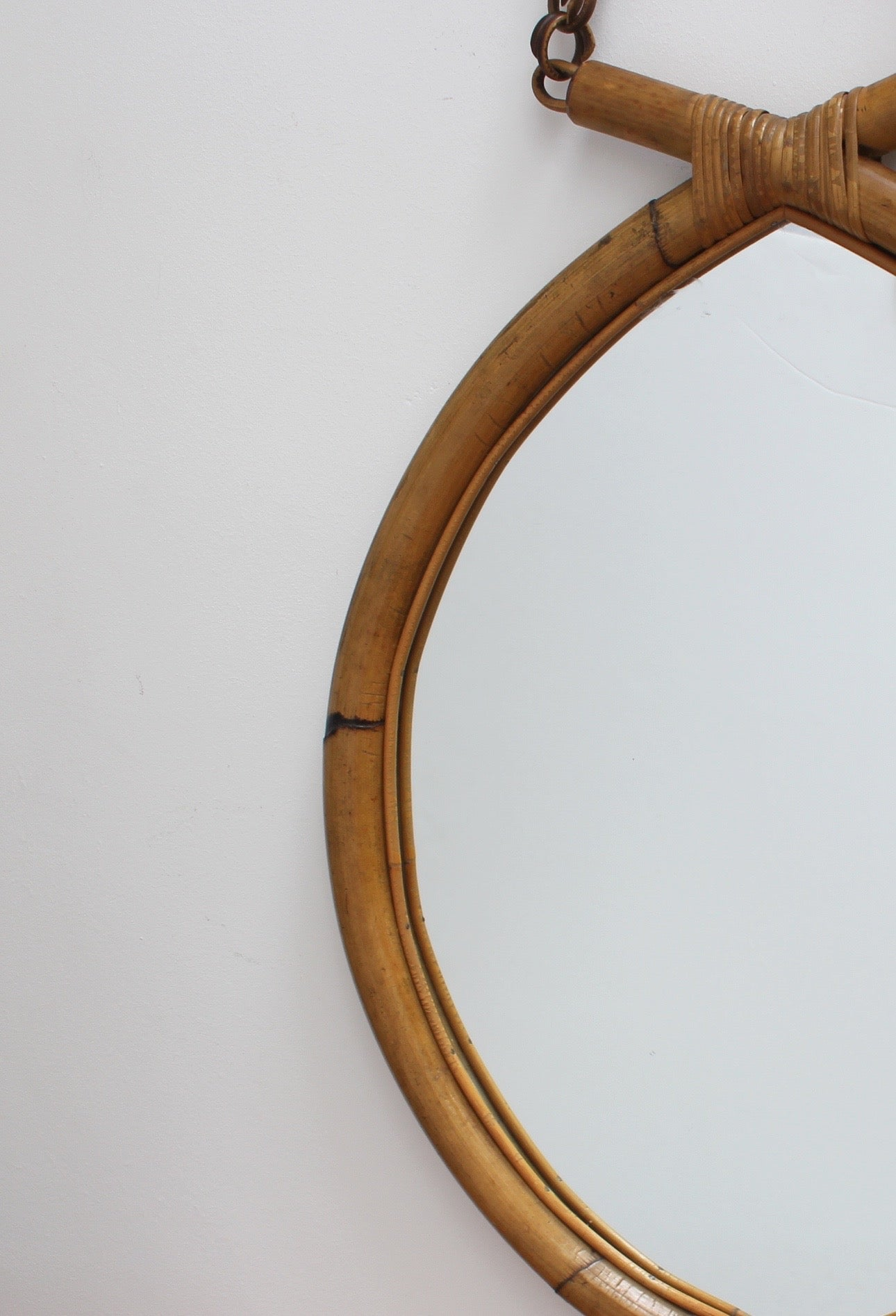 Italian 'Eye-Shaped' Style Bamboo and Rattan Mirror with Hanging Chain (circa 1960s)