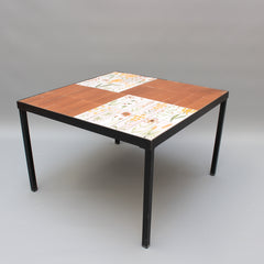 Coffee Table with Decorative Ceramic Tiles by Roger Capron (circa 1970s)