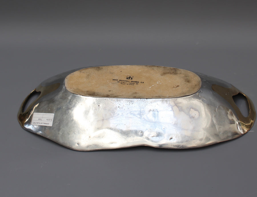 Aluminium and Brass Brutalist Style Tray by David Marshall (1980s) - Large