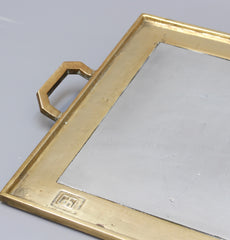 Aluminium and Brass Brutalist Style Serving Tray by David Marshall (circa 1970s)