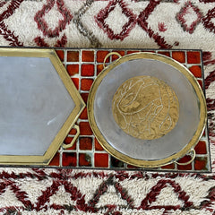Aluminium and Brass Brutalist Style Serving Tray by Leopold (circa 1970s)