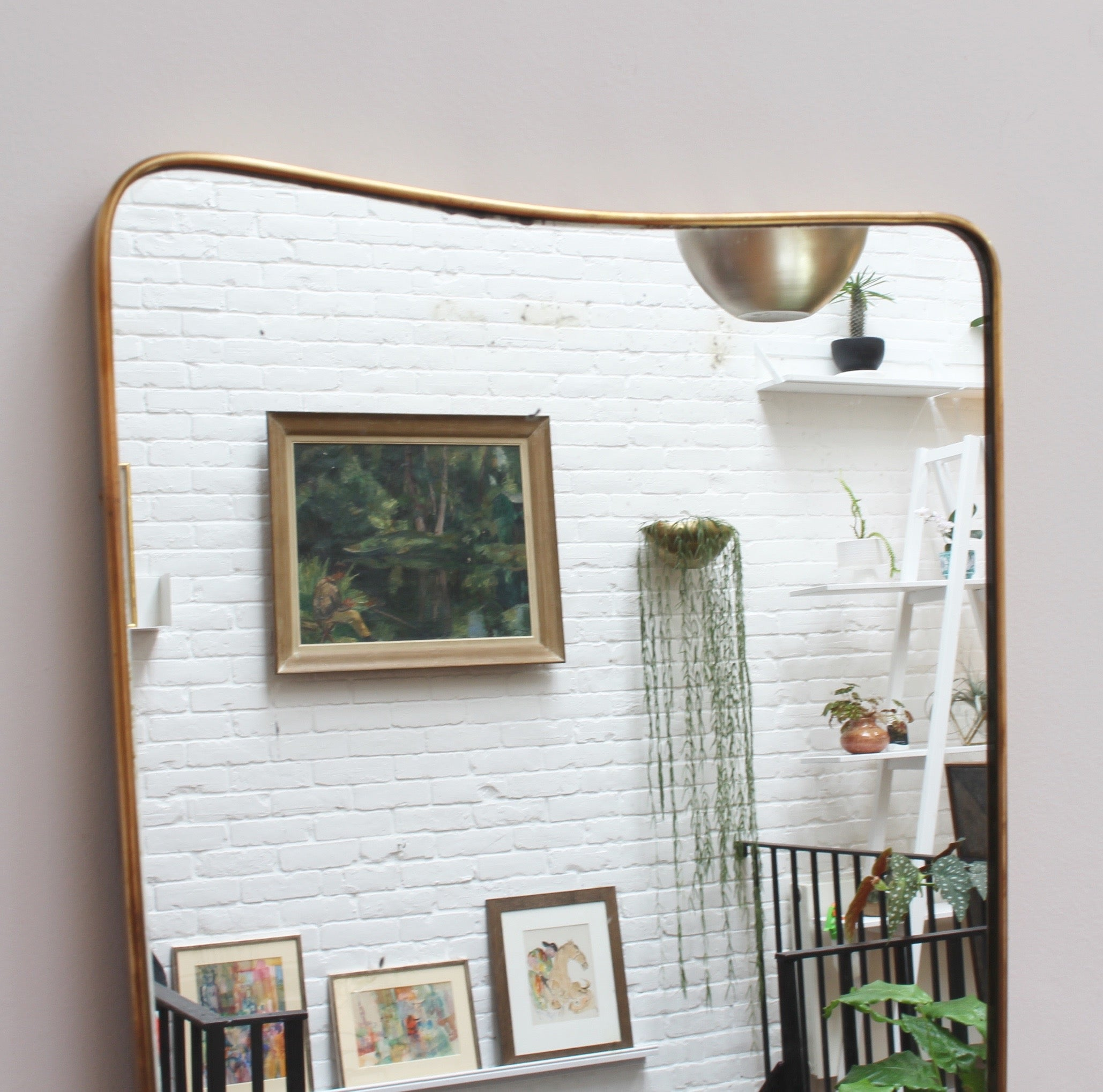 Mid-Century Italian Wall Mirror with Brass Frame by Gio Ponti for ...