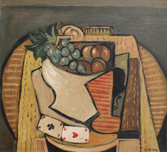 'Still Life with Bowl of Fruit and Cards' by G. Muller (circa 1940s - 1960s)