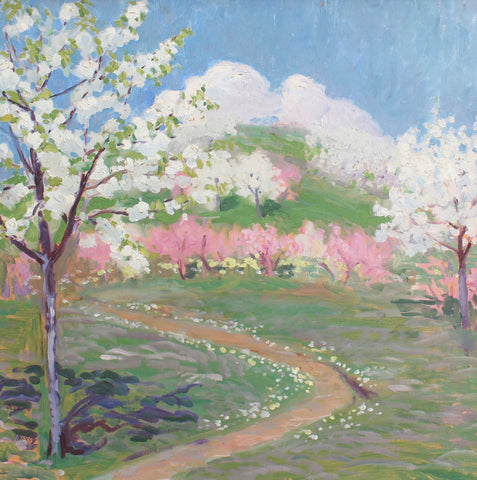 'Tuscan Pathway with Blossoms' Attributed to Elisabeth Chaplin (circa 1950s)