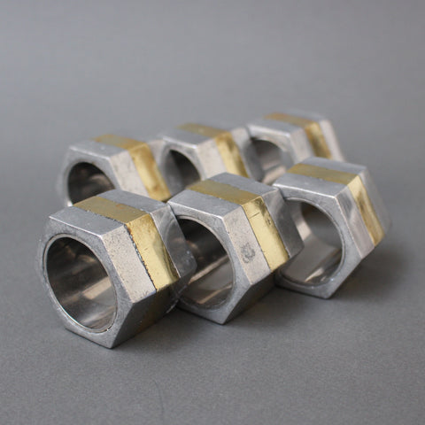 Brutalist Aluminium and Brass Napkin Rings by David Marshall (circa 1970s)