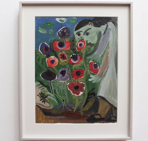 'Woman with Flowers' by Raymond Debiève (1965)