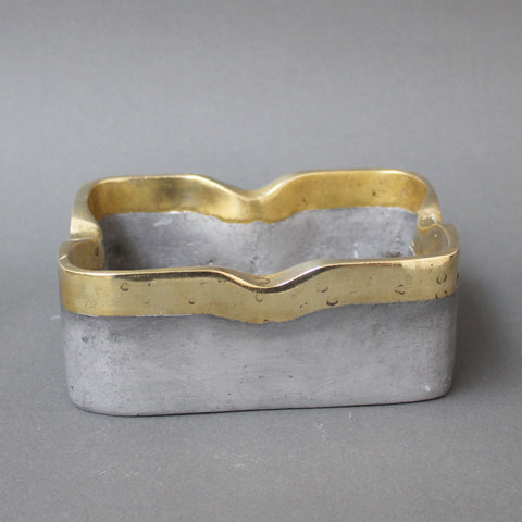 Aluminium and Brass Brutalist style Decorative Ashtray by David Marshall (circa 1970s)