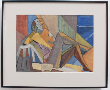 Portrait of Reposing Cubist Nude with Book by Kosta Stojanovitch (circa 1950s)