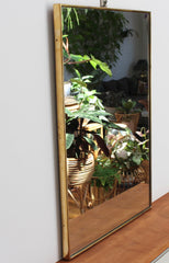 Mid-Century Rectangular Italian Wall Mirror with Brass Frame (circa 1950s)